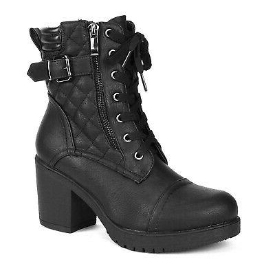 DREAM Lady Chunky Heel Ankle Boots Lace Combat Booties