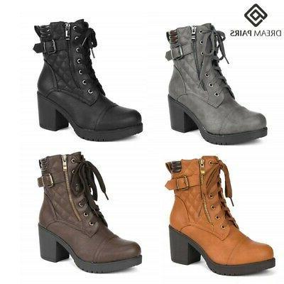 women s lady chunky high heel ankle
