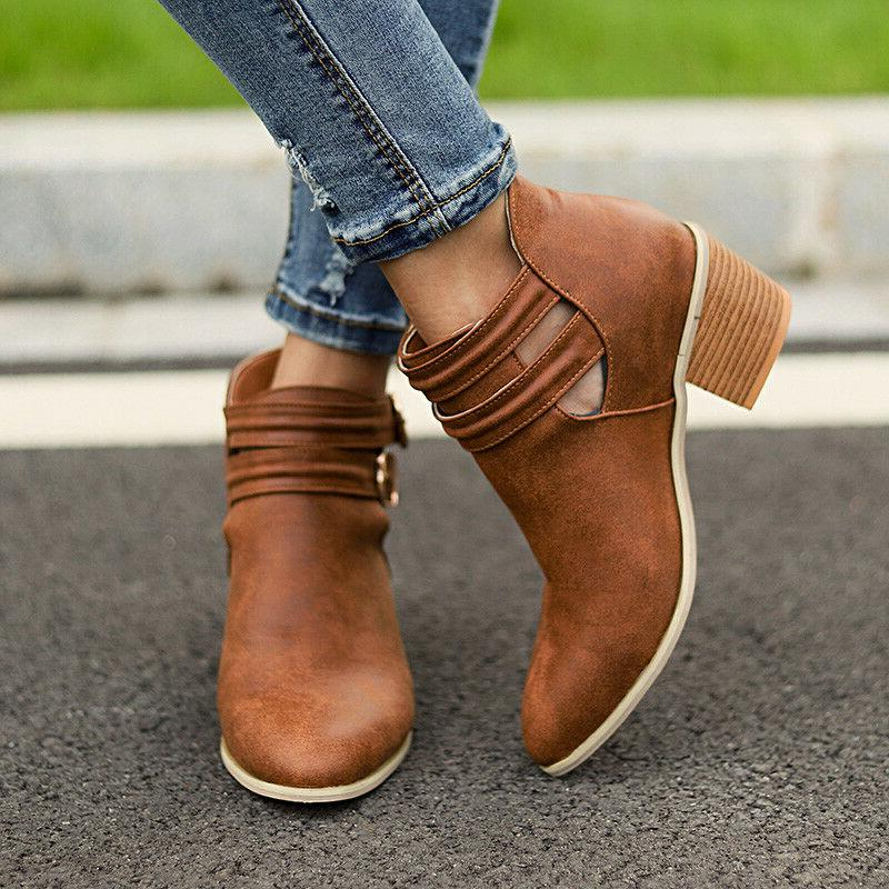 Women's Low Heel Ankle Boots Ladies Chunky Casual Booties Shoes