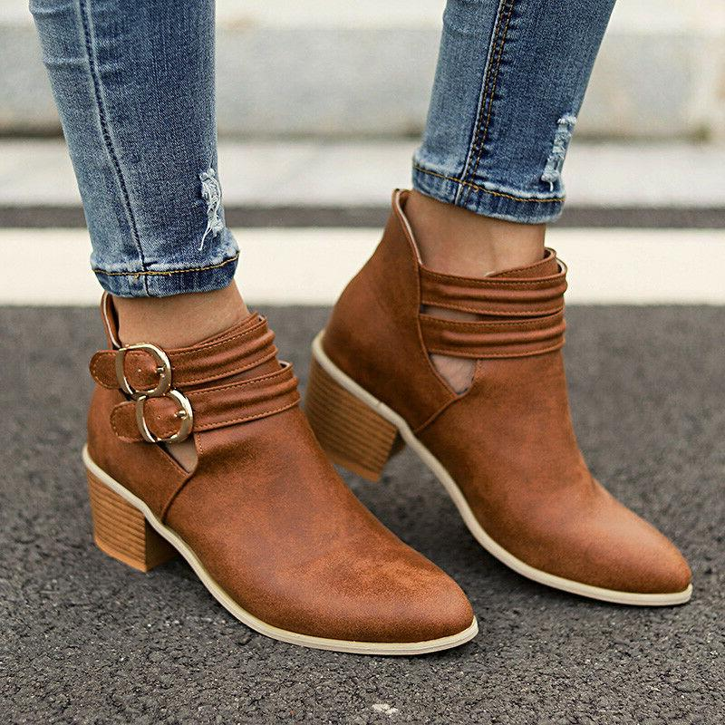 Women's Block Heel Ankle Ladies Chunky Casual