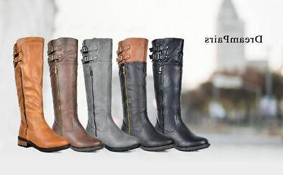 DREAM PAIRS Womens BRADENN Military Combat Knee High Boots