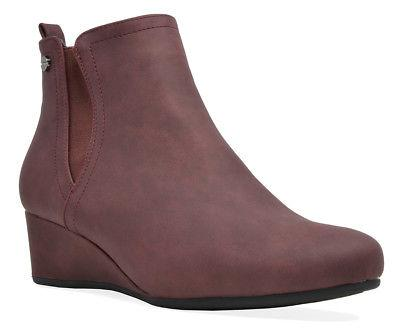 DREAM PAIRS Womens Low Wedge Boots Zip Up Booties Shoes