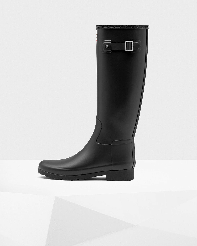 Hunter women's original refined rain boots: black, Size 8