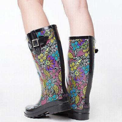 Women's Boots Mid Calf Waterproof Wellies Garden Black