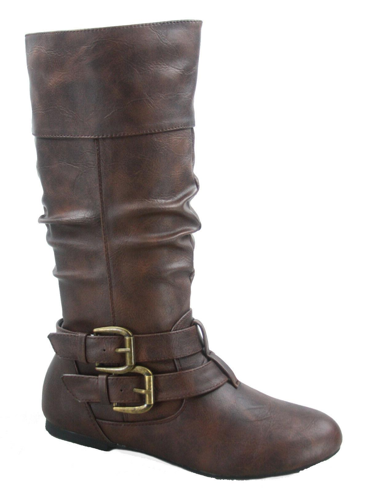 Women's Toe Flat Causal Mid Buckle Boots Shoes 5 11