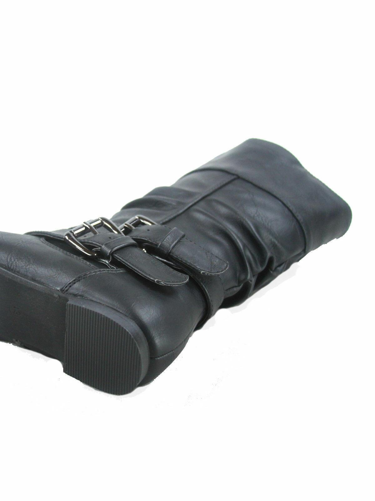 Women's Causal Mid Calf Zip Buckle Boots 5 - 11