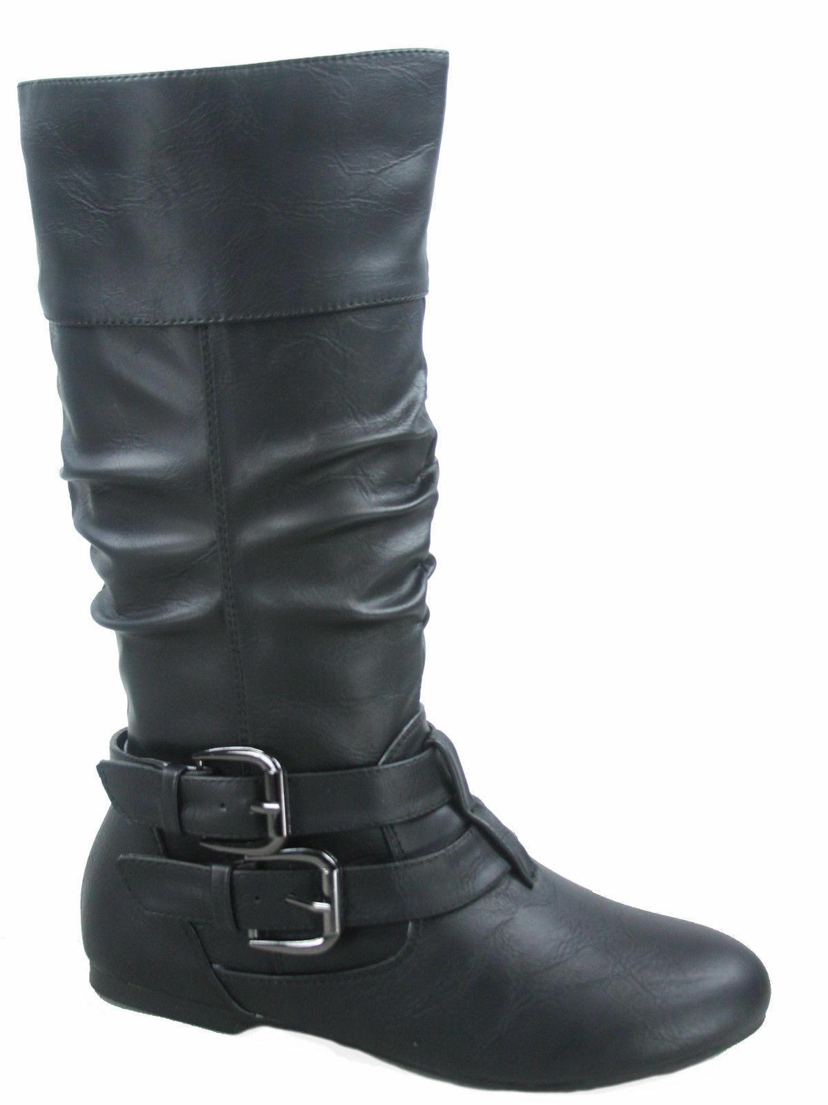 Women's Toe Flat Buckle Boots 5 - 11 NEW