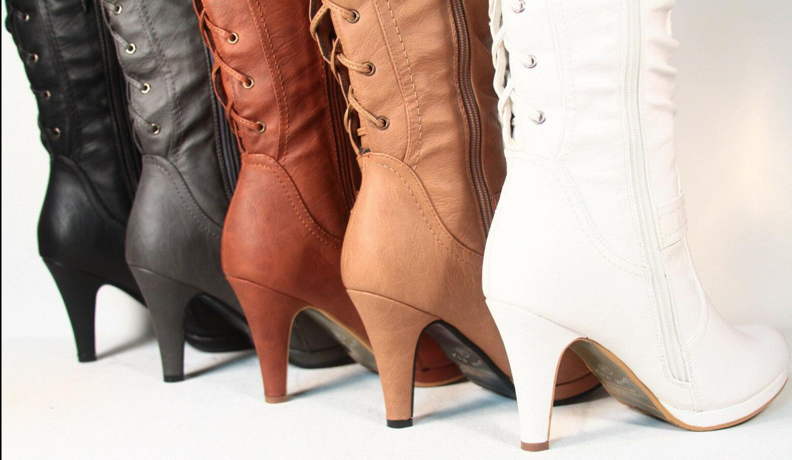 Women's Sexy Lace Up Low Platform Heel Knee High Boots Shoes