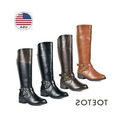 TOETOS Women's Side Zipper Fashion Knee High Riding Boots
