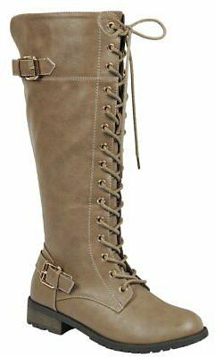 Forever Link Women's Strappy Lace-Up Knee High Combat Stacke