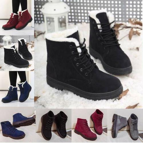 Women's Suede Ankle Snow Boots Warm Winter Casual Fur Thicke