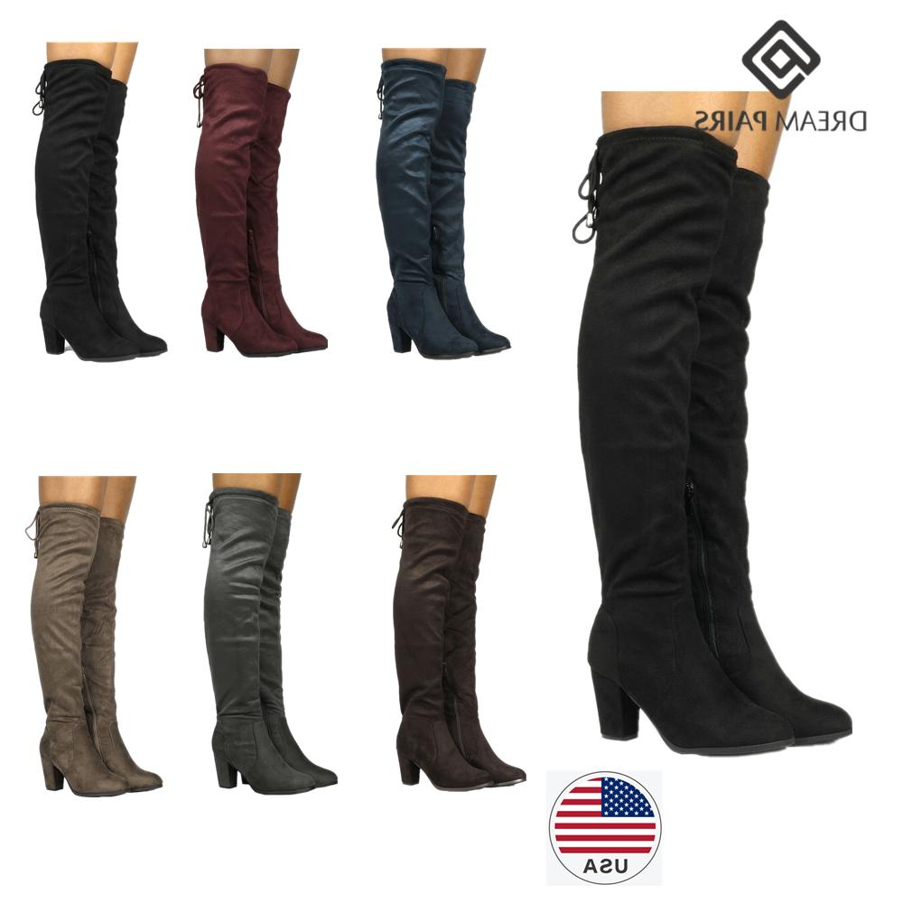 8f27f0530b2f1 DREAM PAIRS Women's Thigh High Over The Knee Chunky Lace Up
