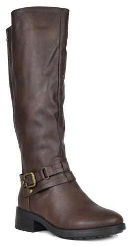 DREAM PAIRS Women's Uncle Brown Knee High Motorcycle Riding