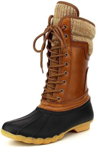 Women's Waterproof Rubber Warm Hiking Snow Rain Winter Lace Up Duck Boots Size