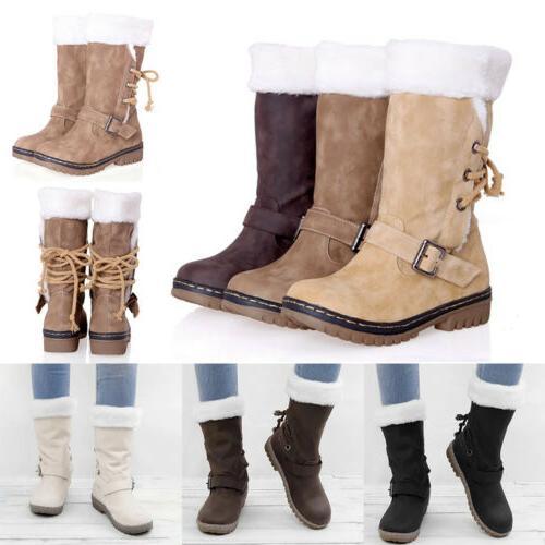 Women's Boots Snow Fur Warm Waterproof Midi Size