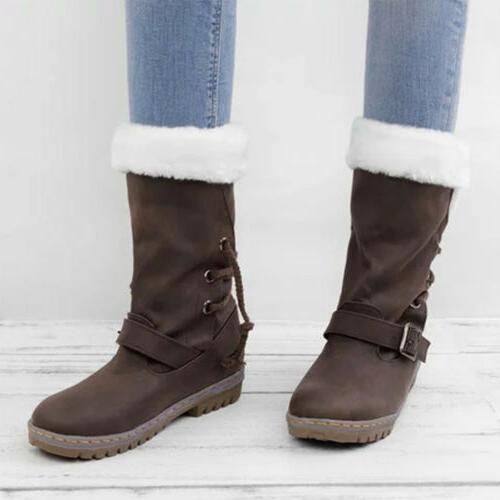 Women's Snow Fur Waterproof Midi Shoes Size