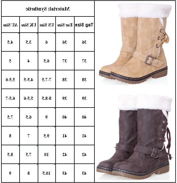 Womens Winter Boots Snow Fur Comfy Casual Fashion Mid Shoe