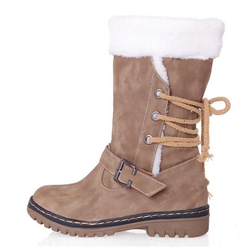 Womens Winter Boots Snow Fur Warm Casual Fashion Calf Shoe