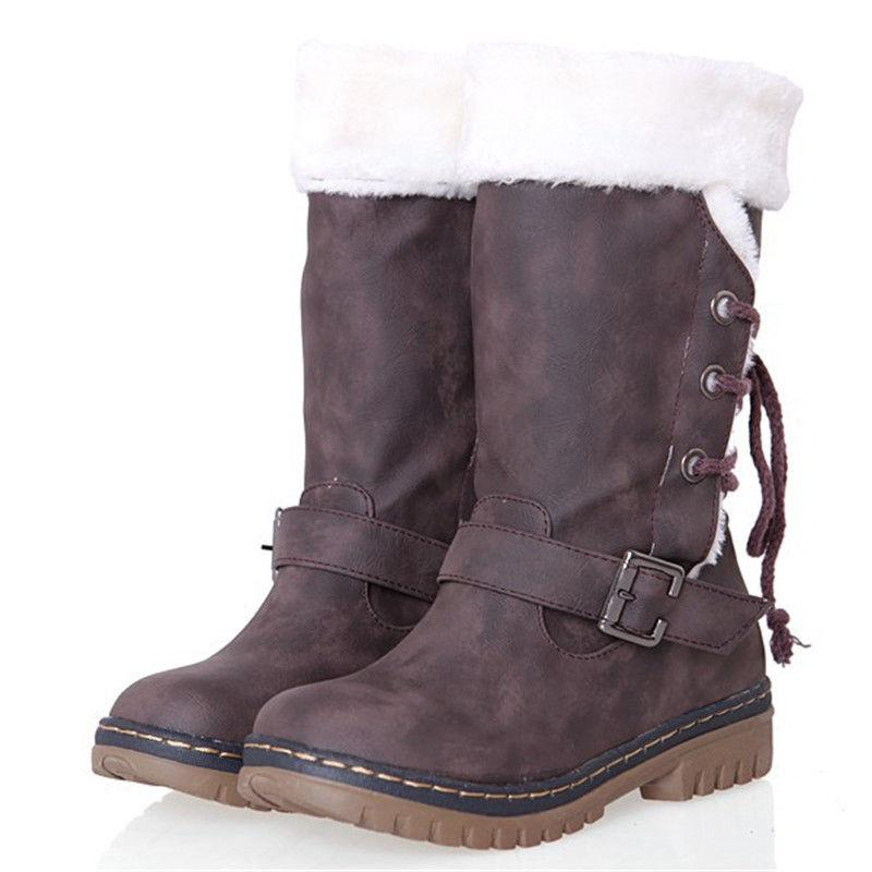 Womens Winter Boots Fur Comfy Casual Fashion Shoe Size