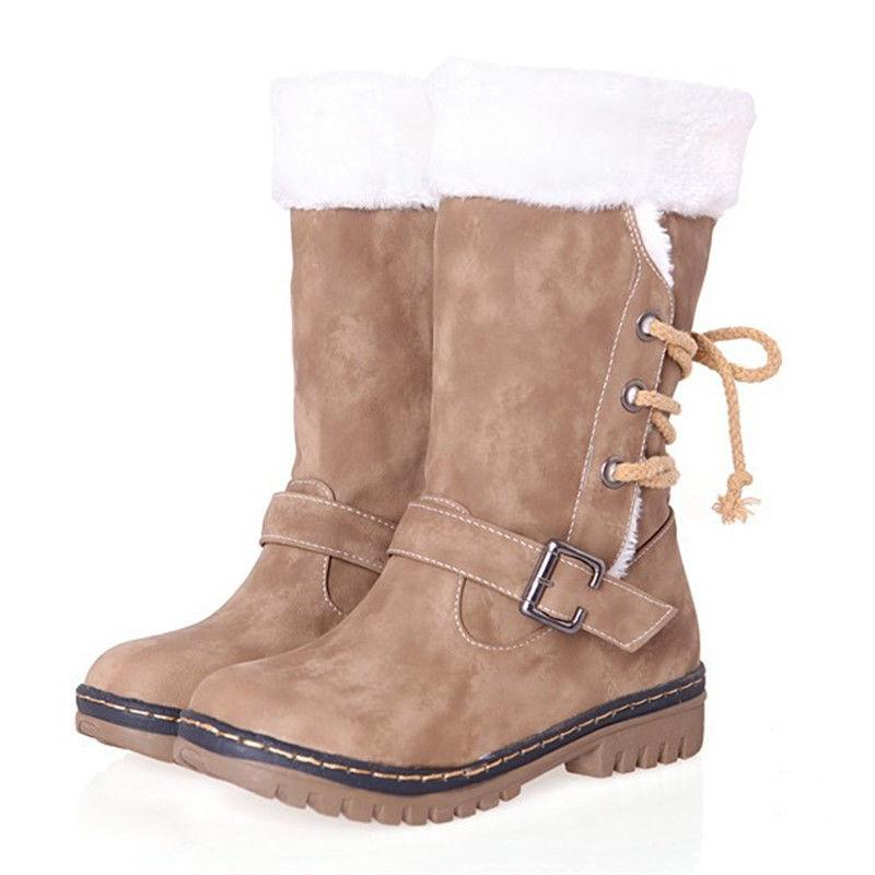 Womens Boots Snow Fur Lined Comfy Casual Fashion Shoe