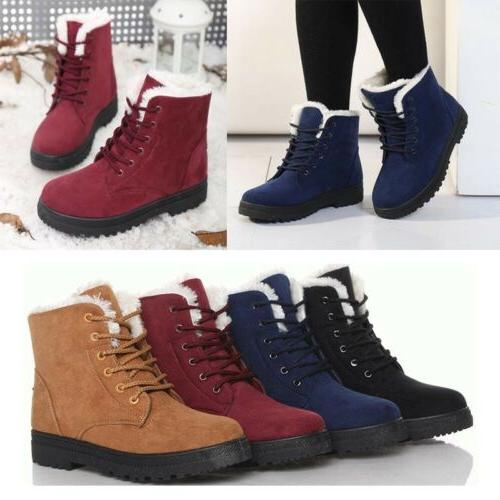 Women's Winter Suede Ankle Snow Boots Warm Fur Thicken Flats