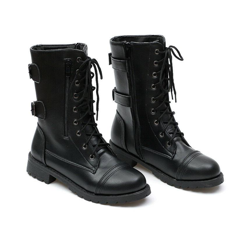 Womens Military Ankle Boots Lace Up