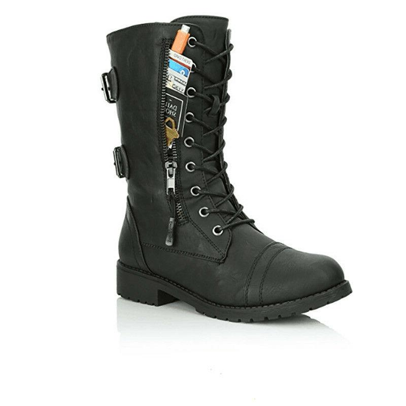 Womens Combat Boots Up Zipper Buckle Booties