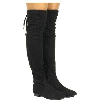 women thigh high flat boots stretchy drawstring