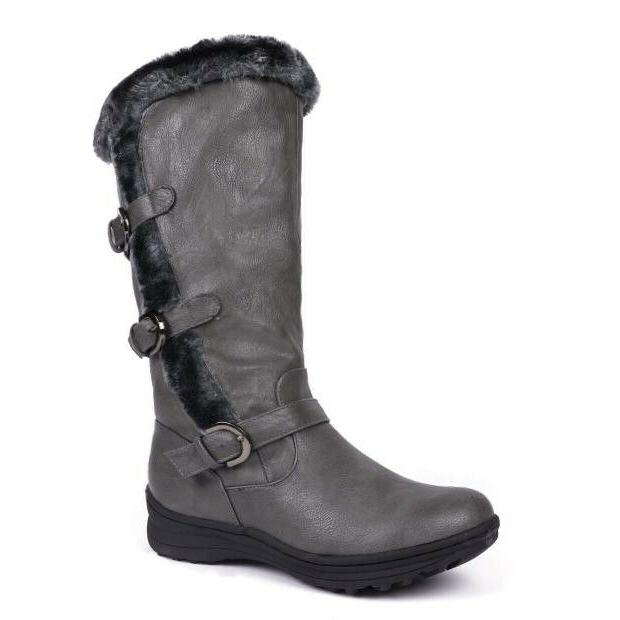Fur Winter Warm Wide-Calf Side Zip High