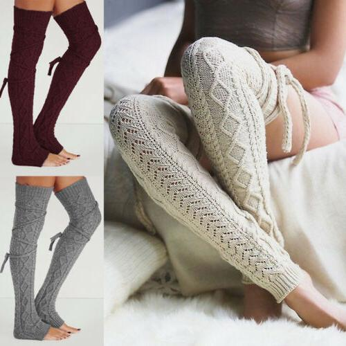 Women Winter Crochet Knitted Stocking Leg Warmers Boot Thigh