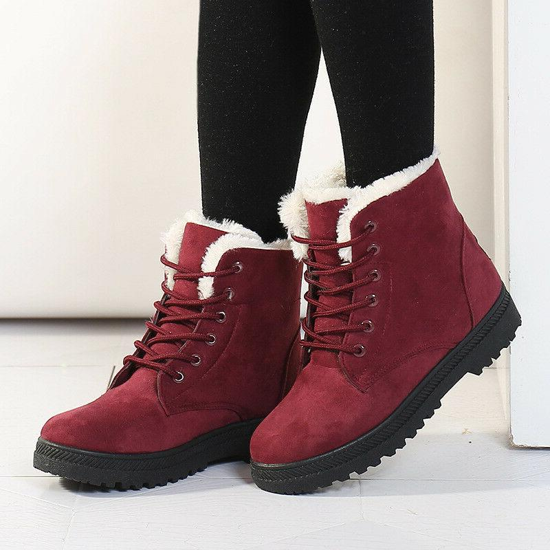 Women Winter Suede Flat Boots Lace Up Outdoor Fur Lined Work
