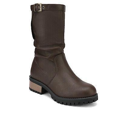 DREAM PAIRS Womens Fur Zip Up Calf Riding Boots