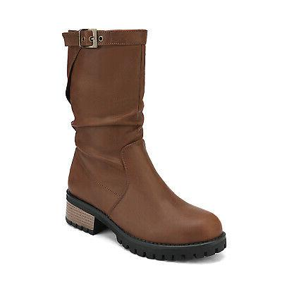 DREAM Womens Faux Fur Zip Up Mid Calf Boots