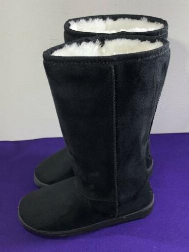"Dawgs Womens 12"" Black Microfiber Boots Size 5 US / 35 EU MS"