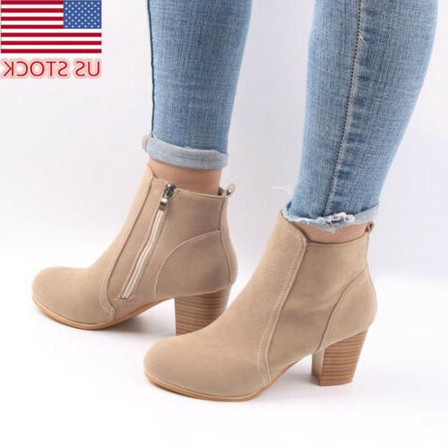 Womens Ankle Boots Casual Faux Fur Suede Side Zipper Thick 3
