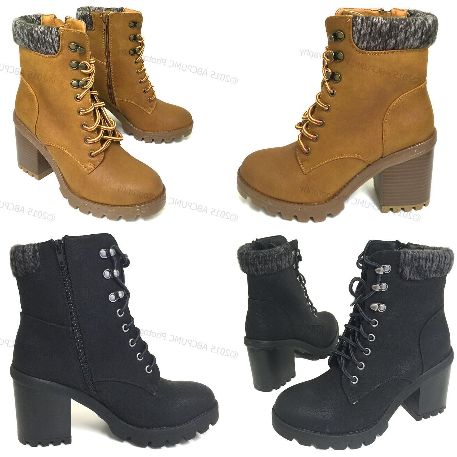 Womens Ankle Boots Fashion Chunky Heel Lace Up Flannel Side