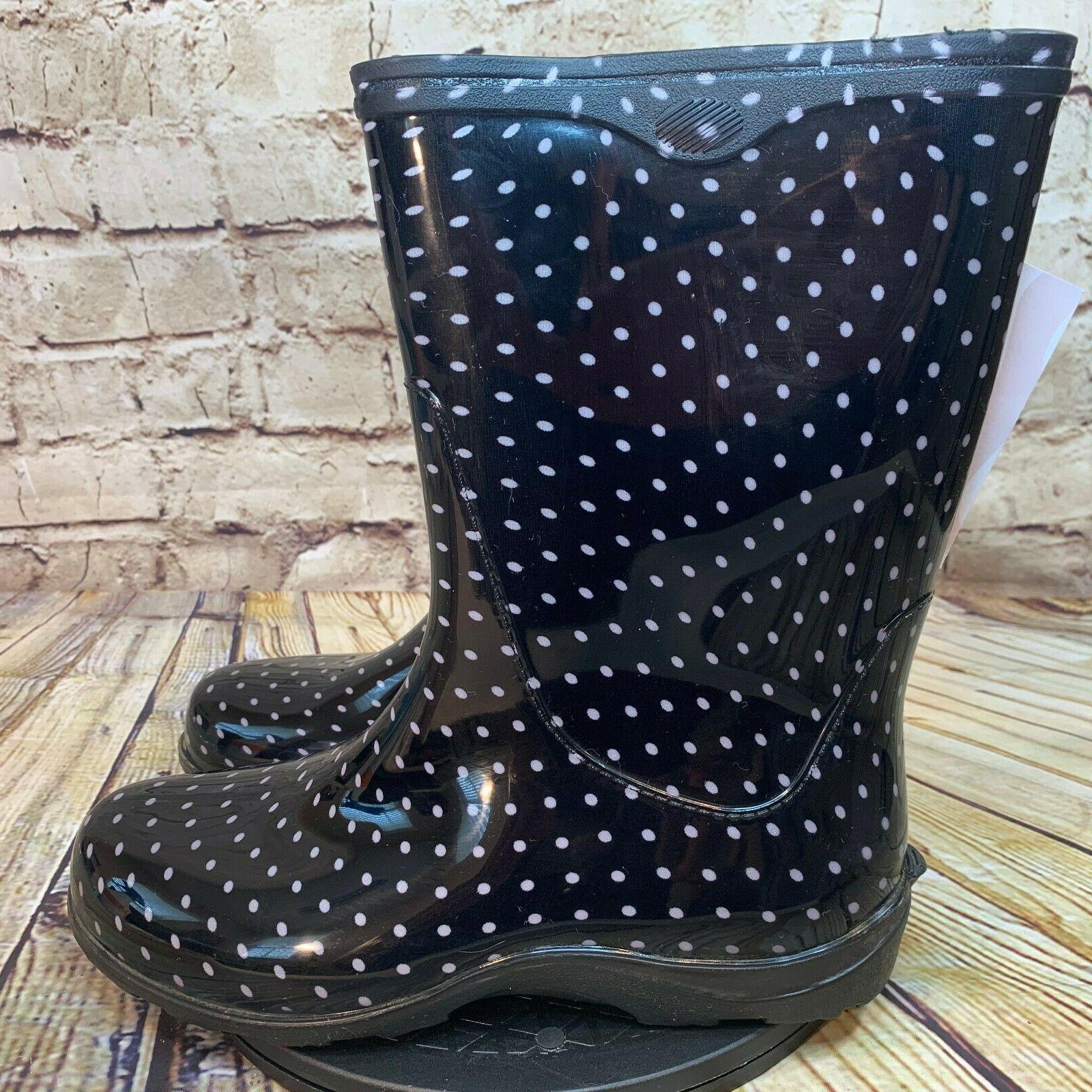 womens black and white polka dot rain