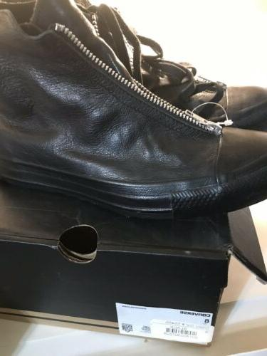 womens black leather zippered ankle boots size