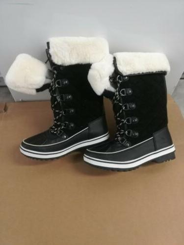 womens black snow boots size 7 5
