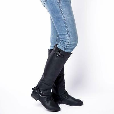 Women's Low Heel Knee High Boots Zipper Closure with Riding
