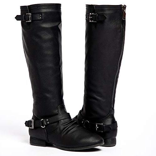 womens block low heel knee high boots
