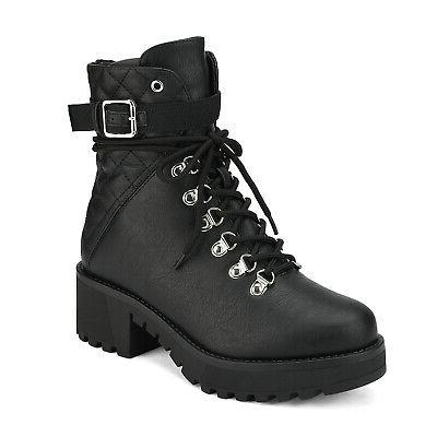 DREAM PAIRS Chunky Heel Boots Up Fur Boots