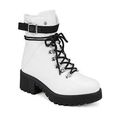 DREAM PAIRS Womens Chunky Block Heel Boots Lace Up Faux Fur Boots