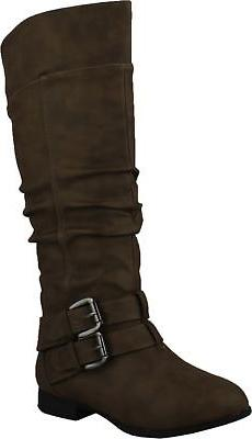 Top Moda Womens Coco-20 Knee High Round Toe Buckle Slouched