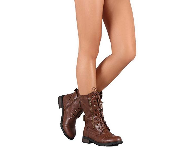 Womens Military Boots Lace Buckle Women Fashion Size