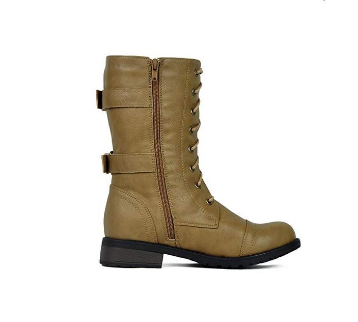 Womens Military Lace Up New Women Boot Shoes Size