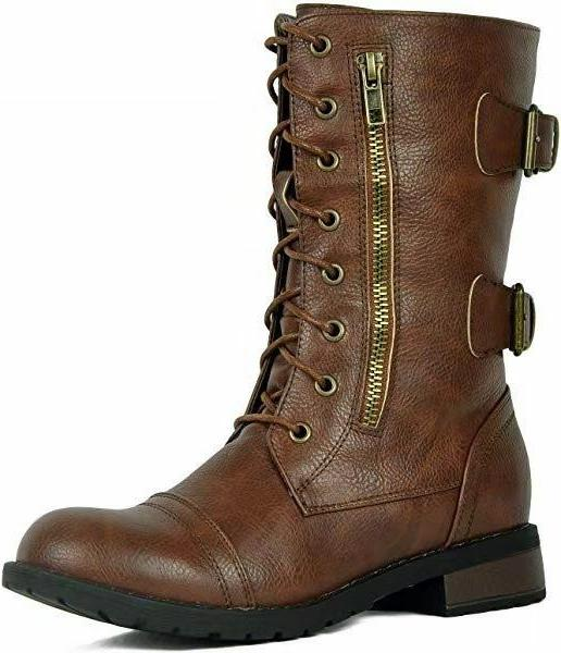Womens Combat Lace Up Women Boot Shoes Size