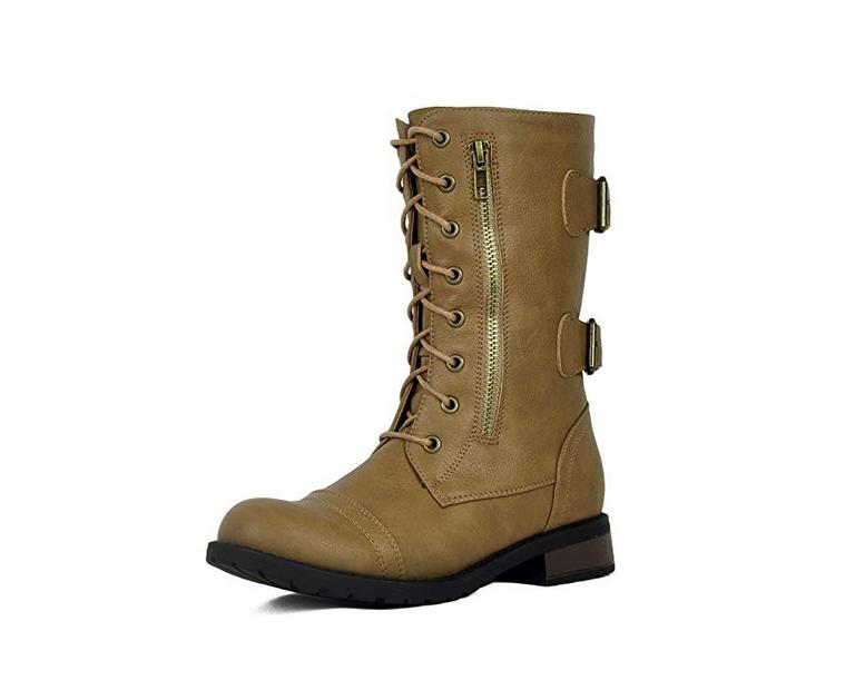 Womens Combat Military Lace Buckle Women Fashion Boot Size