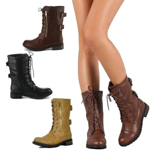 womens combat military boots lace up buckle