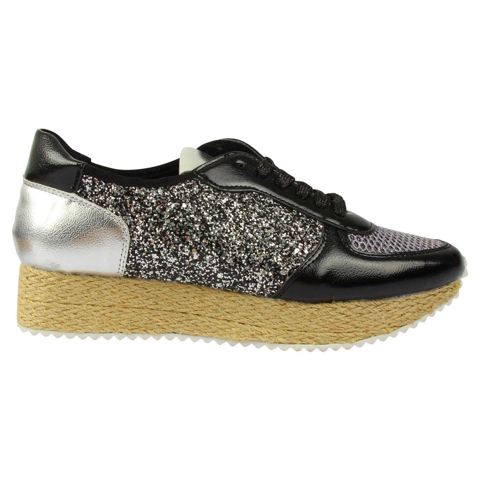 Womens Espadrill Platform Wedge Oxford Ankle Boots